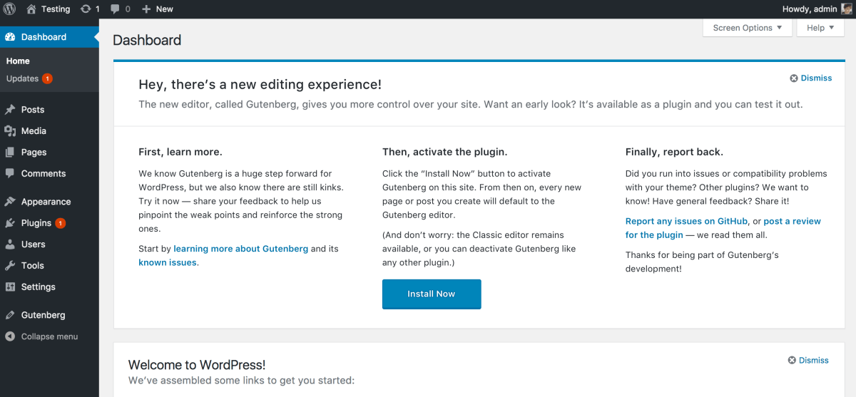"Update: ""Try Gutenberg"" Call-out now planned in WordPress  4.9.8"