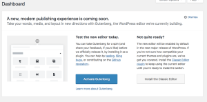 Try New WordPress editor Callout in 4.9.8 Beta 2