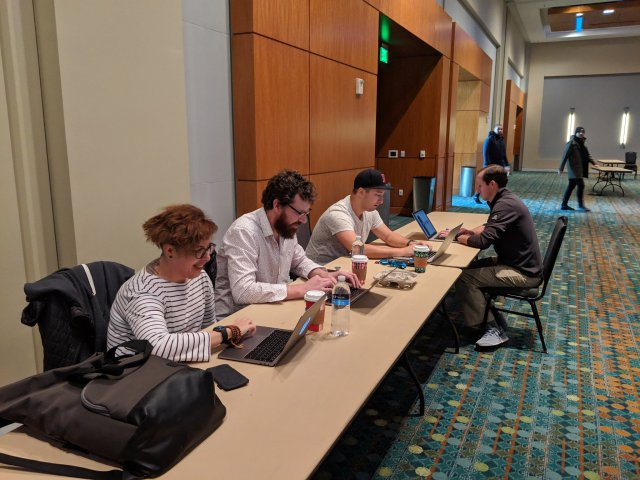 Putting the final touches on the WordPress 5.0 release:  Tammie Lister, Gary Pendersgast, Jonathan Desrosiers and William Earnhardt at WordCamp US  2018