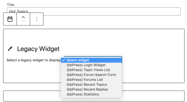Use the Legacy Widget block to place 3rd Party widgets from plugins into the block areas.
