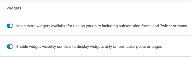 Settings section to turn on additional widgets by Jetpack