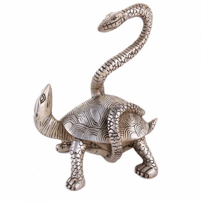 objet deco chinois animal celeste tortue serpent argent cuivre guten morgwen