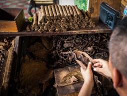 Voller Tabakblätter: Arbeitsplatz von Juan