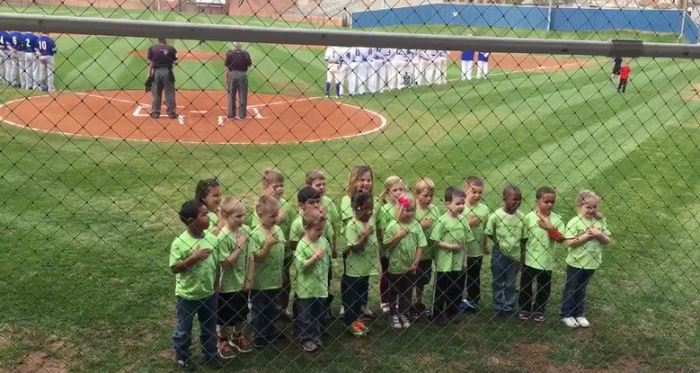 Video: Kindergarten class sings National Anthem prior to GHS game