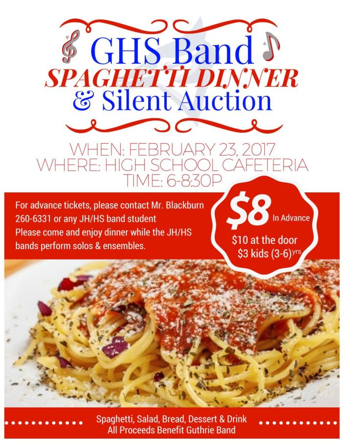 GHS Band spaghetti dinner and auction set for Feb. 23