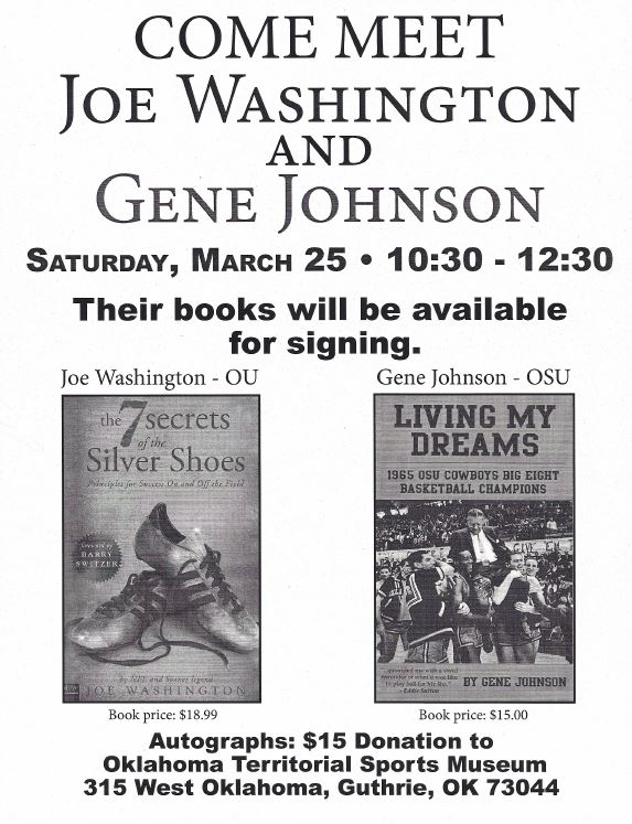 Joe Washington, Gene Johnson to sign books at OTSM