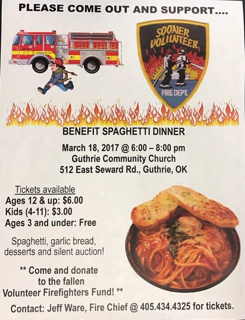 Sooner Volunteer Fire Department to hold benefit spaghetti dinner