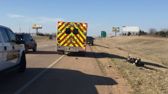 Motorcyclist airlifted to hospital following accident on I-35
