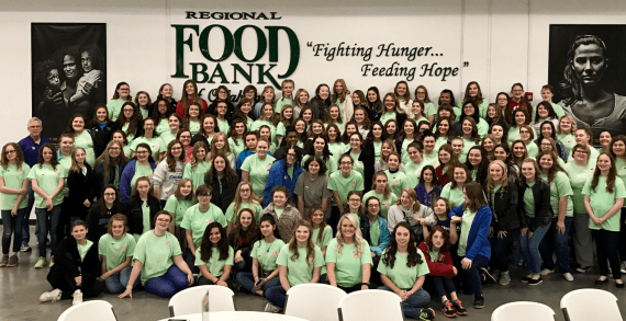 Rainbow Girls volunteer their weekend at the Regional Food Bank