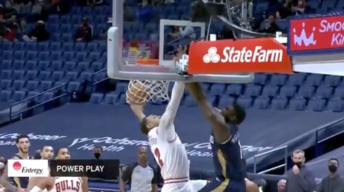 Zion stuffs home unreal bully dunk…