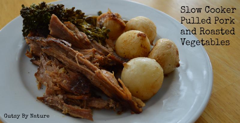 Slow Cooker Pulled Pork and Roasted Vegetables