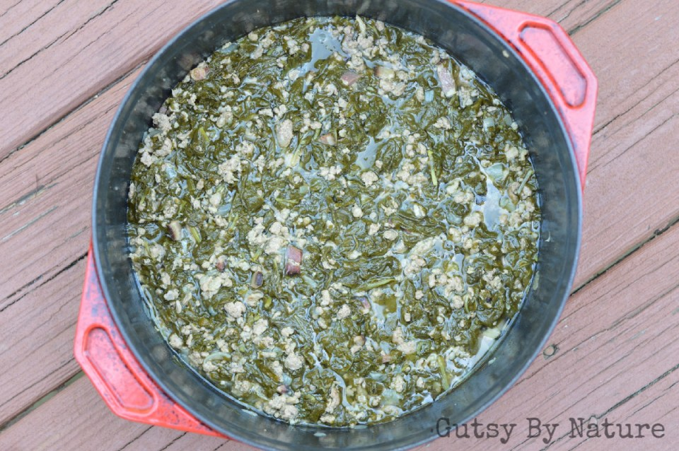 turnip greens and pork in dutch oven