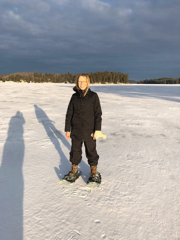 Snowshoeing on a frozen Two Sisters Lake, January 2019