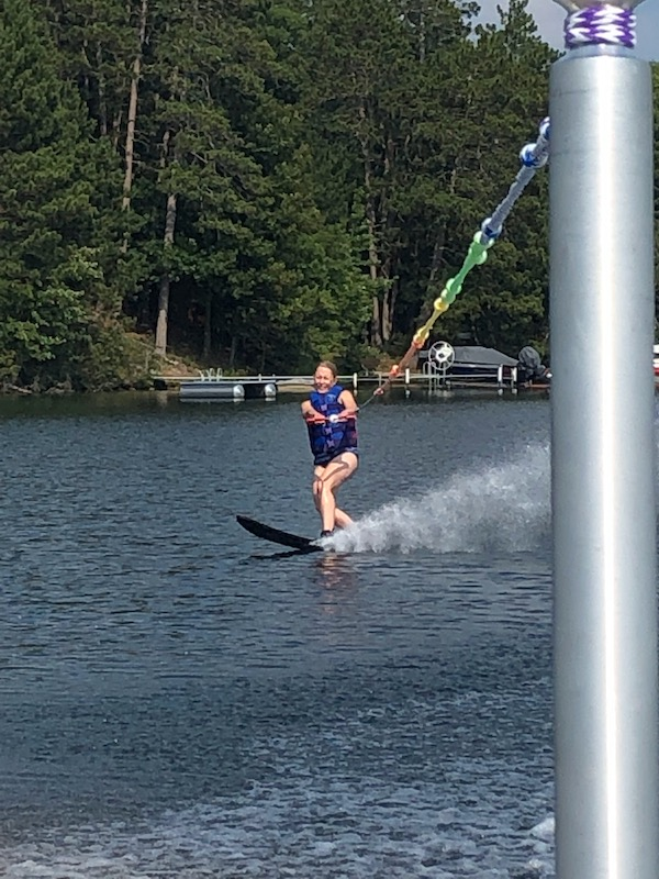 Waterskiing on Two Sister's Lake in July, 2019