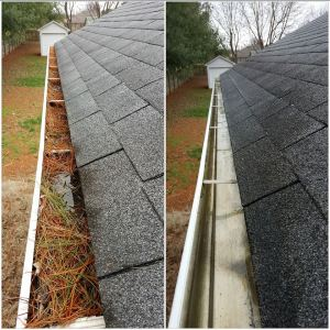 Before and After Gutter Clutter Buster use