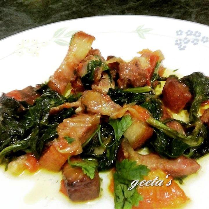 Smoked Pork with Mustard Greens by Geeta Dutta #GuwahatiFoodie