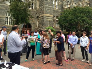 Challenge participants gather for the Closing Celebration with Charles on Healy Circle