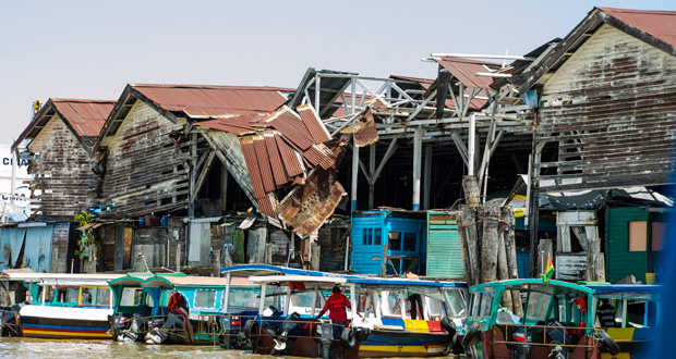 The section of the Stabroek Market stelling that will be torn down by the end of this month. (Delano Williams photo)