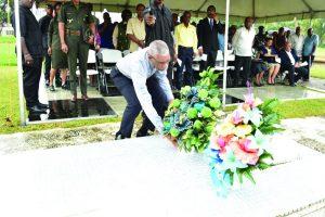 President David Granger pays respect to former President Hugh Desmond Hoyte, SC
