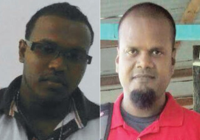 "Dead: Azrudeen Hussain (left) Dead: Desmond David Singh, also called ""Fix Up"""