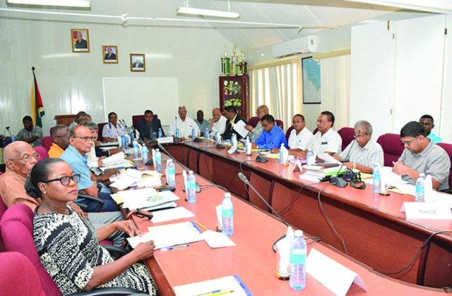 A team from the Government, the parliamentary Opposition, GuySuCo, GAWU and NAACIE met as consultations begin to determine a way forward for the sugar industry