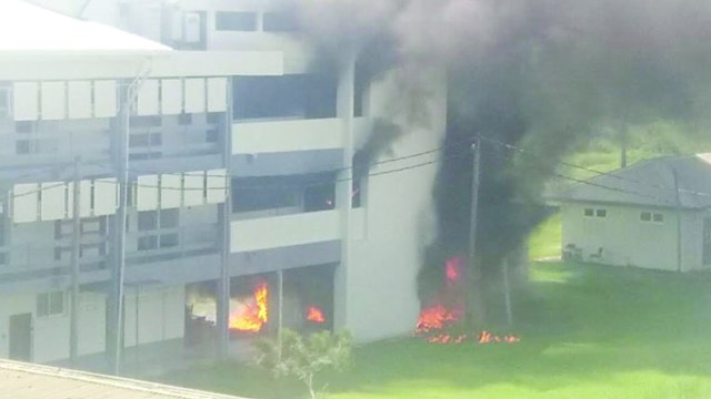 The fire raging at UG's Faculty of Health Sciences on Wednesday morning
