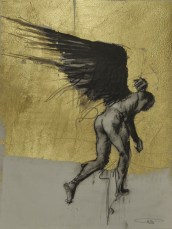 'William saw angels 15', conte and gold-leaf on paper, 25 x 30 cm