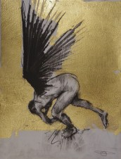 'William saw angels 3', conte and gold-leaf on paper, 25 x 30 cm