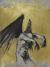 'William saw angels 5', conte and gold-leaf on paper, 25 x 30 cm