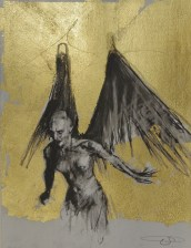 'William saw angels 8', conte and gold-leaf on paper, 25 x 30 cm