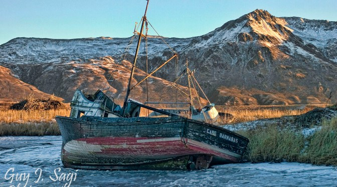 Old Harbor Kodiak Island, Kodiak Island Alaska, frozen shipwreck, Guy J. Sagi, Fear and Loading