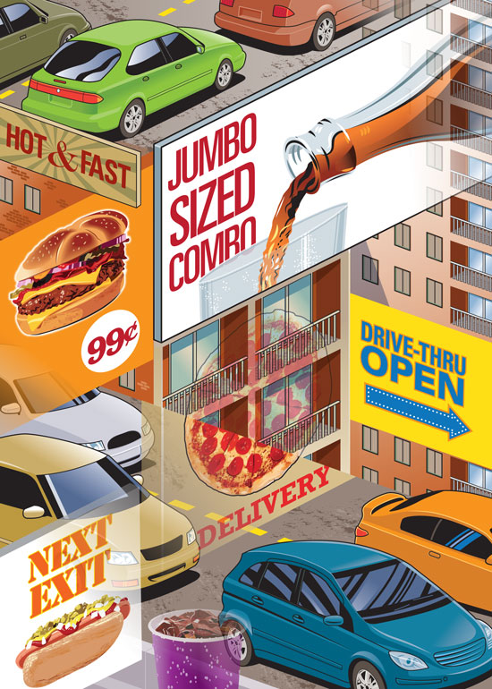 City with cars and fast food