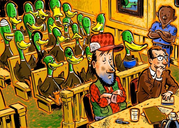 A cartoon of a courtroom with ducks in the jury box and a hunter on trial