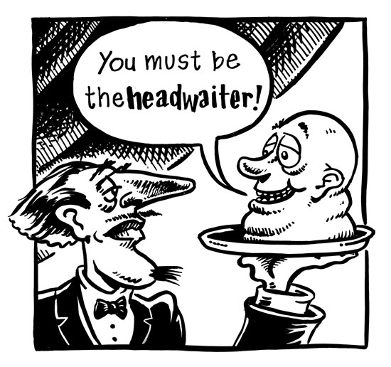 cartoon of waiter with head on platter