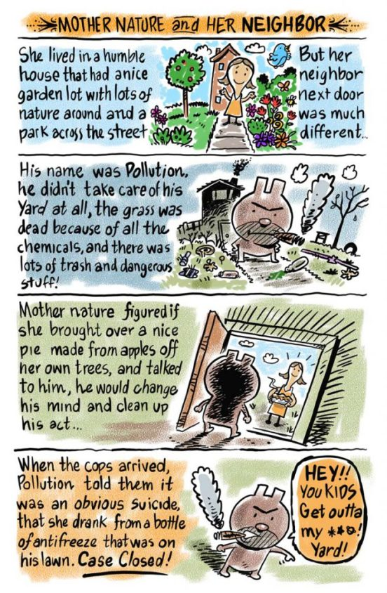 Mother nature and pollution cartoon