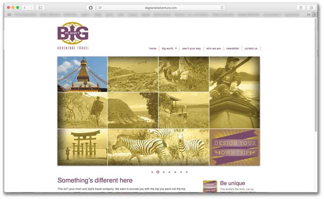 Big Planet Adventures website