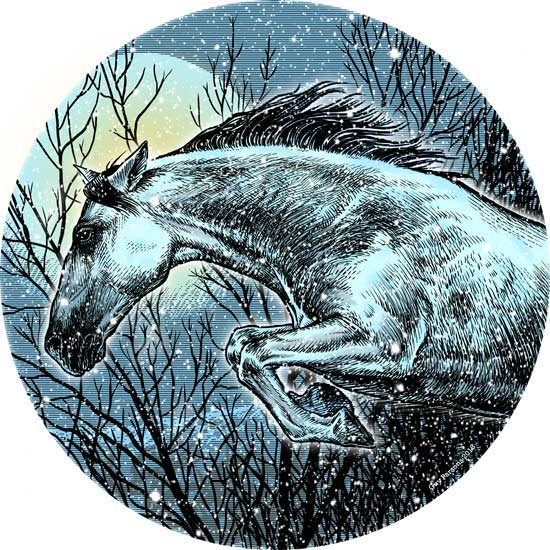Illustration of a horse in winter
