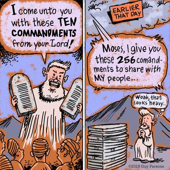 Moses ten commandments cartoon, comic