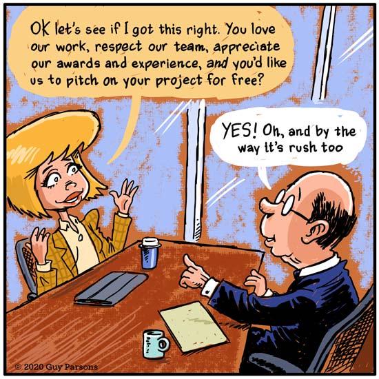 Business pitch cartoon