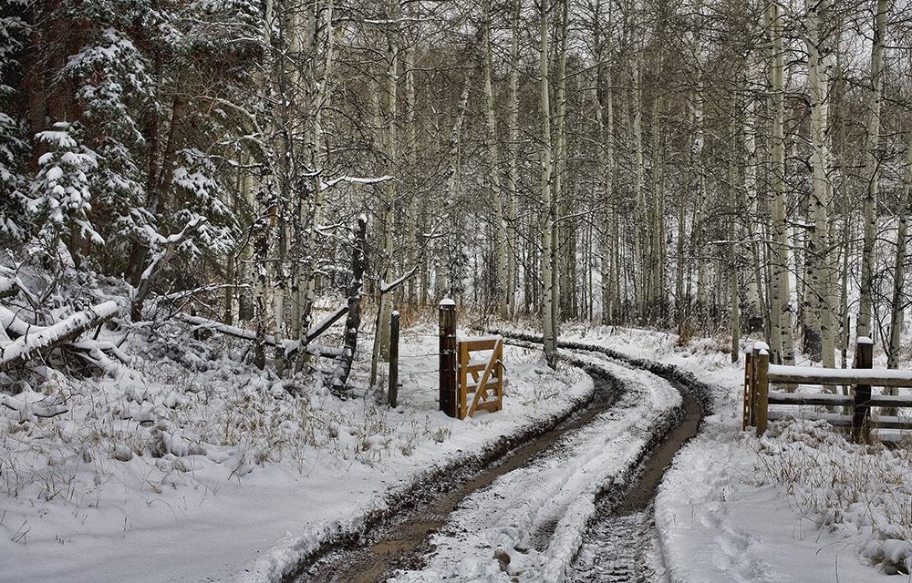 Snowy Colorado road by Guy Sagi
