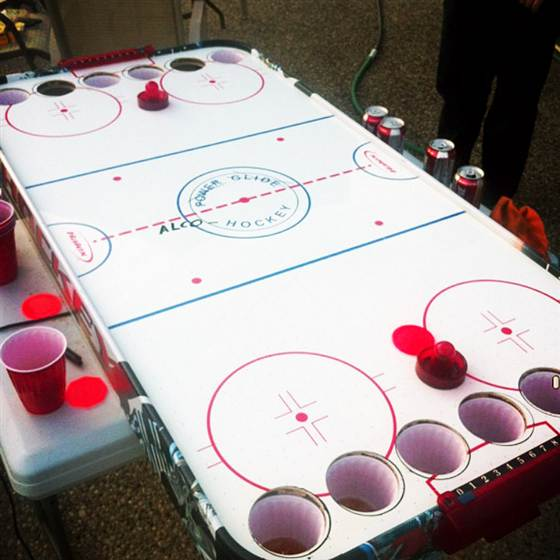 alcohockey beer pong