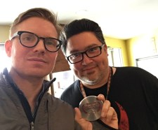 "Robert Perez, of South Texas Underground Film Festival with ""Guys Reading Poems"" director Hunter Lee Hughes"