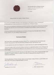 Sword of Windsor Letter