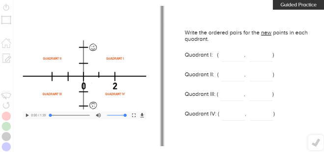 guzinta math four quadrants