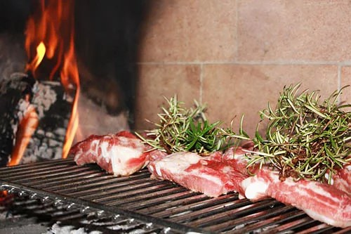 Grilling meat with Rosemary