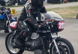 Vince Burrell and Todd Johnston both entered beautifully prepared Guzzi's in the Burt Munro Challenge circuit races in the Pre 72 class. Vince won the class and Todd was a strong mid fielder