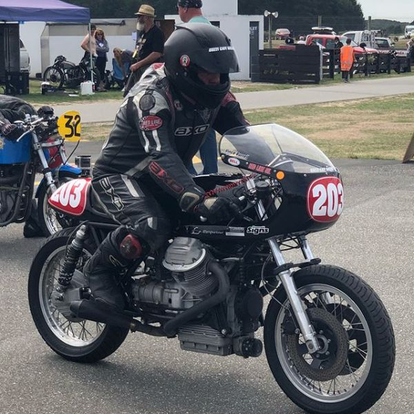 Vince Burrell and Todd Johnston both entered beautifully prepared Guzzi's in the Burt Munro Challenge circuit races in the Pre 72 class. Vince won the class and Todd was a strong mid fielder #motoguzzi #guzziraceraus #burtmunrochallenge