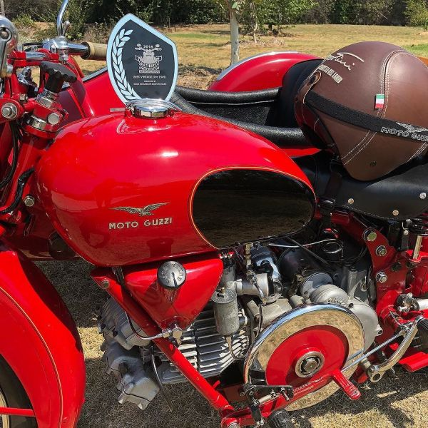Carlo and Maria (1957 Falcone & 1947 Costantino sidecar) just won best Vintage Bike at our Custom Bike Show. Congratulations to them both. I'm a proud dad. #motoguzzi #guzziraceraus
