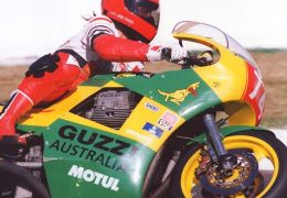 This is the first Magni Australia. Built by Australian Guzzi importer Ted Stolarski with help from Arturo Magni and the Guzzi Factory. This bike was first raced in 1990. It must have had one of the very first 4V engines from the Guzzi Factory. Magni later released the Magni Australia paying homage to Teds Race Bike. These photos were taken. In 1993 at the iconic Mount Panorama Racing Circuit in my home town of Bathurst Australia. This bike still lives in Australia and is regularly ridden. The Pilot in these shots is Wayne Gow. A well known Aussie racer that is still competing in classic racing on a V7 sport (1972). Wayne is known for his competitive nature and his versatility. This year at the International festival of Speed I saw him step off his Guzzi and straight onto a TZ 750 that someone asked him to race. How does one adjust his head to make that leap?