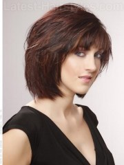 neck length hairstyles with bangs